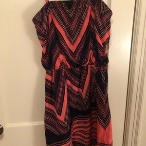 Express Orange & Navy Dress